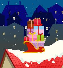 Santa gift cart background
