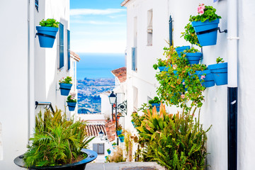 Picturesque street of Mijas. Andalusia. Spain Wall mural