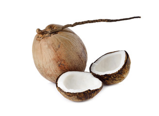 mature coconut for oil preparing and coconut milk on white backg