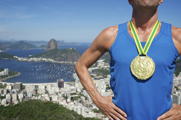 Gold Medal Champion Athlete Standing Rio Skyline