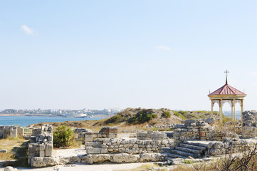 Chersonese, ruins of baptistery with rotunda.