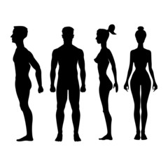 Collection of silhouettes man and woman. Vector