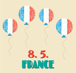 Simple, vintage card with flying balloons - french flag