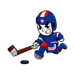 Hockey player chasing puck