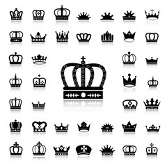 Set of Crown black icons and silhouettes