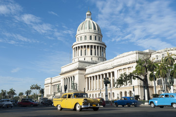 Havana Cuba Capitolio Building with Cars