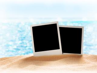 Photo card on sand beach.