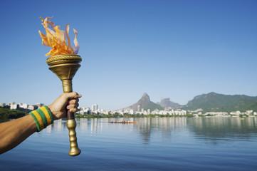 Athlete Hand Holding Sport Torch Rio de Janeiro