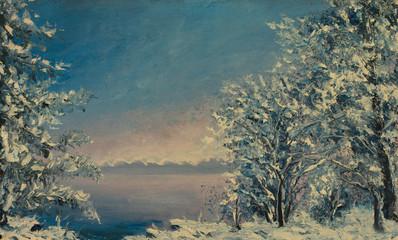 Painting of winter morning, beautiful snow tree. Winter sea.