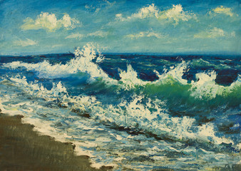 Oil painting of sea beach, beautiful waves on canvas.Seashore.