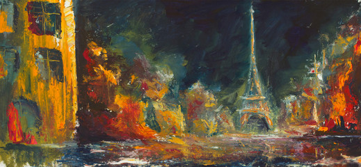 Abstract night paris. Original oil old city on canvas.Modern