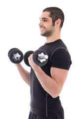 young man in sportswear doing exercises with dumbbells isolated