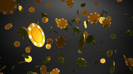 golden casino chips black background