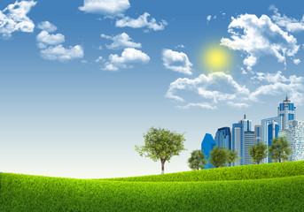 Cityscape on nature background
