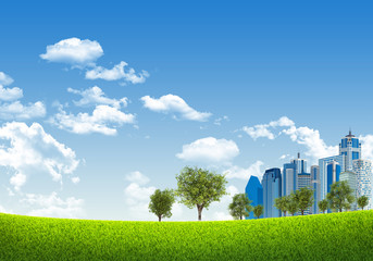 Business center on nature background