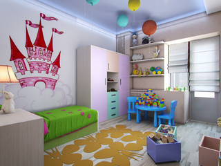 3d illustration nursery for girls in pastel colors