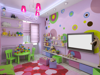 3d illustration nursery for girls in pink colors