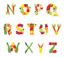 Alphabet composed by fruits and vegetables, second part
