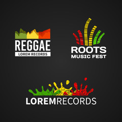 Set of reggae music equalizer logo emblem vector on dark