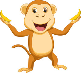 happy monkey cartoon with two banana