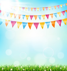 Celebration background with buntings grass and sunlight on sky b