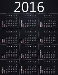 Simple 2016 calendar template - black design