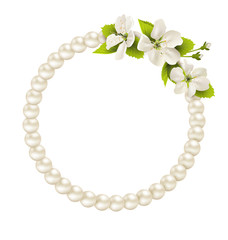 Pearl circle like frame with cherry flowers isolated on white ba