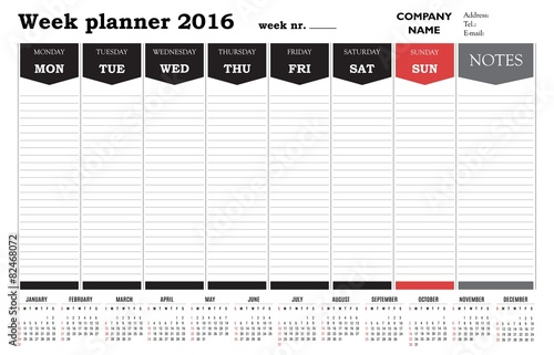 Week Planner 2016 Calendar Template Stock Image And Royalty Free