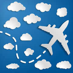 Foto op Plexiglas Hemel paper airplane with clouds on a blue air background. Blue sky t