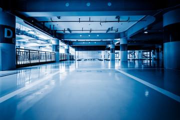 Parking garage underground, industrial interior