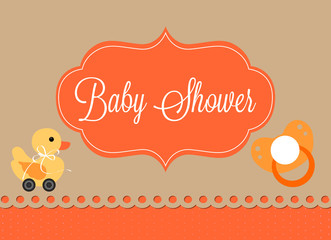 baby shower card, vintage duck with wheels and pacifier
