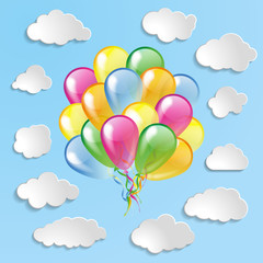 Multicolored glossy balloons with clouds collection on a blue ba