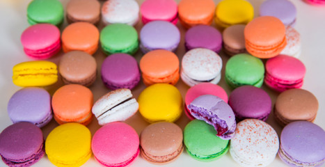 French sweets called macarons: different colors of happiness