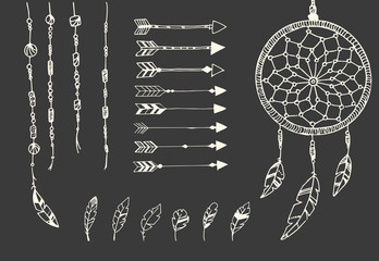 Hand drawn native american feathers, dream catcher, beads