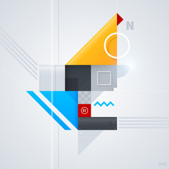 Abstract design element with glossy geometric shapes