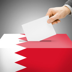 Ballot box painted into national flag - Bahrain