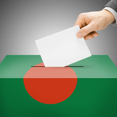 Ballot box painted into national flag - Bangladesh