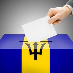Ballot box painted into national flag - Barbados