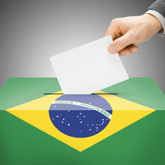 Ballot box painted into national flag - Brazil