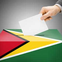 Ballot box painted into national flag - Guyana