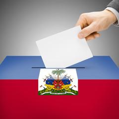 Ballot box painted into national flag - Haiti