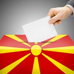 Ballot box painted into national flag - Republic of Macedonia