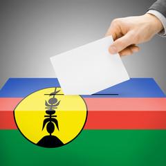 Ballot box painted into national flag - New Caledonia