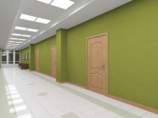 modern interior corridor with doors