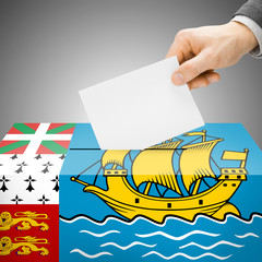 Ballot box painted into flag - Saint-Pierre and Miquelon