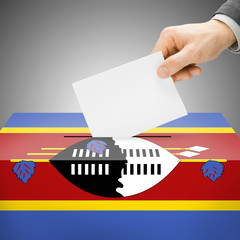 Ballot box painted into national flag - Swaziland