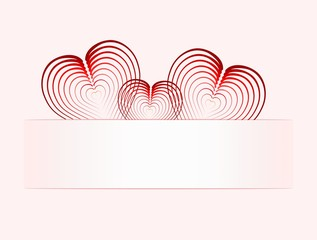 Three hearts on paper tab,pink background transition to white