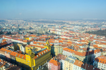 Fototapeta aerial view of prague taken from the zizkov tv tower.