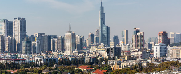 modern nanjing city skyline with the beautiful lake in morning