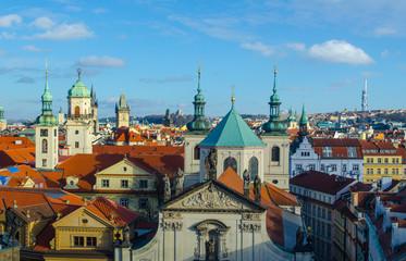 Printed roller blinds Eastern Europe aerial view of prague towers